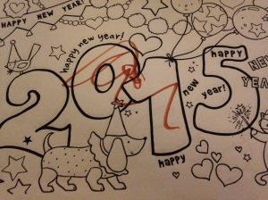 This is one of his pictures from New Years.  The gym child care is very educational and encourages creativity.